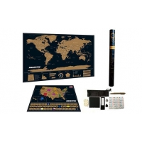 Map Deluxe Black World Map With USA Map