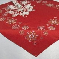 xmas embroidered table runner and table cloth polyester