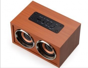 China Factory Super Bass Stereo Wireless Wood Speaker With Tf Card Fm Radio Portable Wooden Speakers on sale