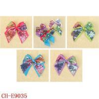 Kids Hair Clip CH-E9035 Children 5 inch bow ribbon barrette sequins