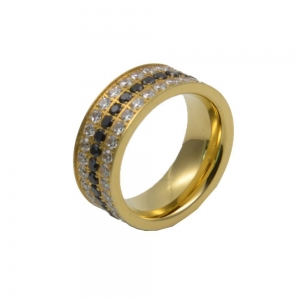 China Titanium 18K Gold Plated Stainless Steel High Polished Channel Set CZ Engagement ring on sale