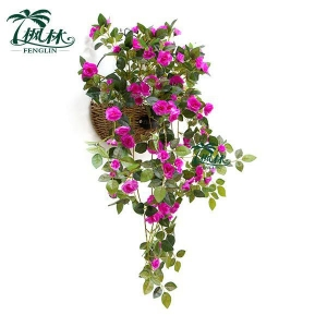 China Low Price Hanging Violet Artificial Rose Flower Bush on sale