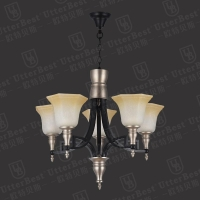 China Customized Modern LED Hotel Crystal Glass Iron Chandelier Lighting UB80516-5P on sale
