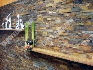 China Rustic Gold Slate Stacked Stone Wall Panels 6x24 Stacked Stone Tiles on sale