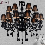 Contemporary Simple Black Small Crystal Chandelier Lighting with Bedroom