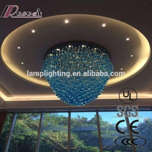 China Customized Blue Glass Drop European Style Glass Chandeliers for Hotels on sale