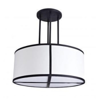 Wholesale Modern Style Round White Fabric Hanging Pendant Light For Home Lobby