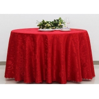 Polyester Jacquard Plain Linen Table Cloths For Wedding Party Oilproof Fire Retardant