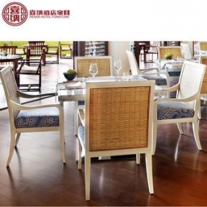 China hospitality wicker dining accent chair restaurant for resort hotel furniture on sale