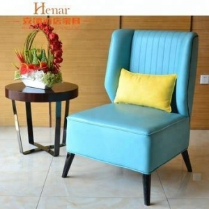 China Solid Wood Frame Faux Leather Hotel Lobby Chair From Foshan on sale