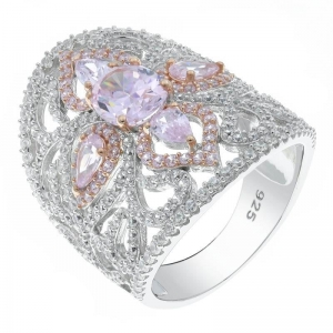 China 925 Sterling Silver Filigree Diamond Pink CZ Ring on sale
