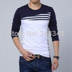 China round neck long-sleeved patchwork T-shirts men Big size XXL 3XL 4XL 5XL on sale