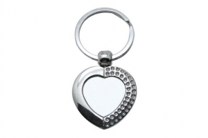 China Heart Shape Metal Keychain Sublimation Blanks on sale