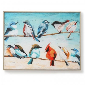 China Artwork handpainted animal birds canvas wall art modern framed paintings CA-F 2272 on sale