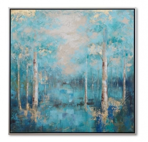 China Artwork Handpainted blue forest canvas wall art landscape framed wall art CA-F 2047 on sale