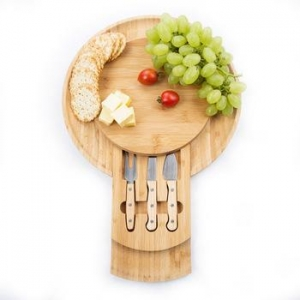 China Round 4 Piece Bamboo Cheese Cutting Board with Slide Out Drawer on sale