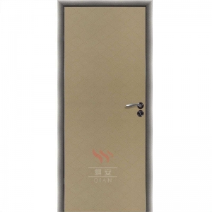 China MDF HPL Security door single leaf wooden flush door design with aluminum frame on sale