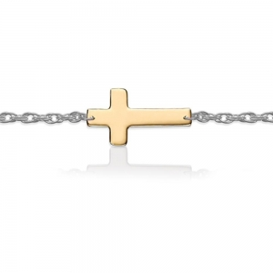 China Gold Cross on Sterling Silver Bracelet on sale