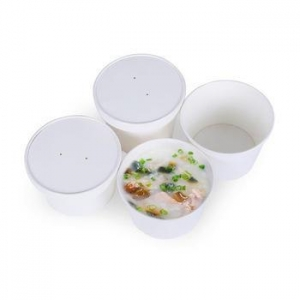 China OEM custom hot soup white round kraft paper bowl with lid on sale