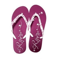purple embossing flower woman flip flops slipper for woman