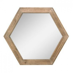 China Hexagon Wall Mirror with Natural Wood Frame on sale