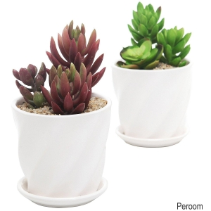 China Set of 2 Contemporary Round White Ceramic Planter Pots w/ Twisted Glossy Design on sale