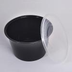 Black plastic round food container