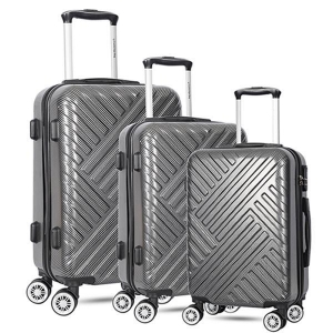 China Fashion set of 3 light weight abs pc silver luggage bags cases on sale