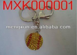 China Silver Palted Yellow Rhinestone Crystal Softball Sports Alloy Charm Key Chain on sale