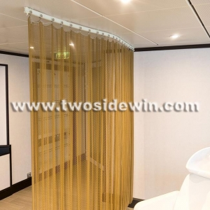 China Room Divider Golden Metal Mesh Drapery on sale
