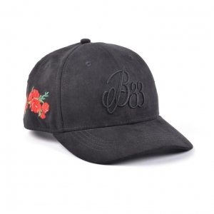 China Baseball Cap Puff Embroidery Black Suede Baseball Cap on sale