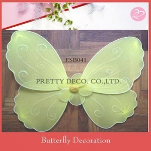 China Artificial nylon butterfly with glitter painting and bead decorative items for living room on sale