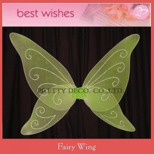 China Green glitter butterfly wing Girls fairy dresses with wings on sale