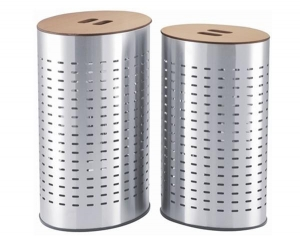 China Laundry bin with MDF lid in oval shape STAINLESS STEEL on sale