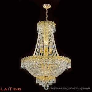China Classic Gold Vintage Retro Luxury Crystal Chandeliers Italian Hanging Dining Room Lamp LT-71013 on sale