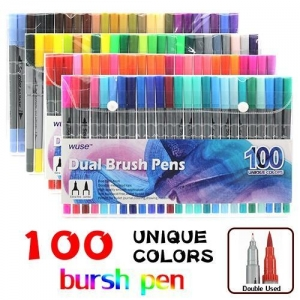 China 100 Color Brush Pens with Fineliner Tip Dual Tip Marker Pens on sale