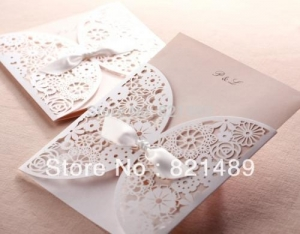 China Delicate White Laser Cut Floral Invitation Cards for Party, Wedding, Birthday, Bridal Shower on sale