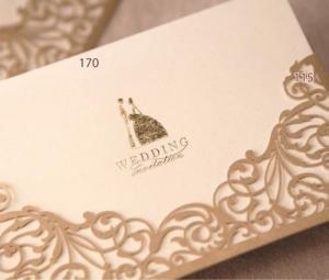 China Elegant Pocket Laser Cut Wedding Invitations - Set of 50 on sale
