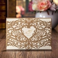 China Golden Lace Wedding Invitation Cards, Bridal Shower Invitation - Set of 50 on sale