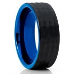 8mm hammered egyptian wedding tungsten rings blue and black wedding bands for men