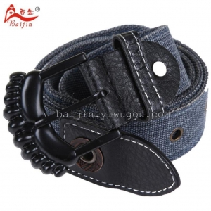 China 100 gold men's new denim color leisure canvas belt on sale