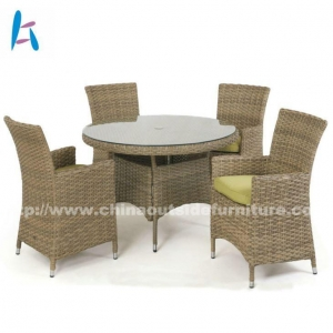 China Outdoor Dining Patio Round Dining Table And Chairs For 4 on sale