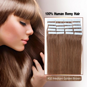 China 100% High Quality Human Hair Made Tape In Color 10# Medium Golden Blonde on sale