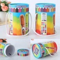 crayon set eco round packaging box with handle string