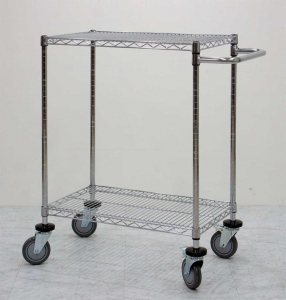 China Durable 2 Layer Adjustable Steel Wire Metal Shelving hand mobile trolley on sale