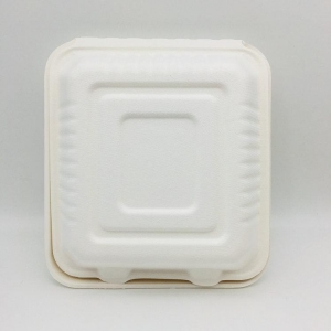 China Biodegradable sugarcane & bamboo 3 compartment lunch box on sale