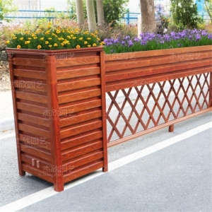 China Wood Street Fence With Flower Pots on sale