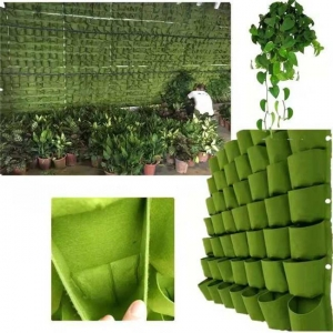 China Felt Vertical Hanging Pockets Planter Green Wall on sale
