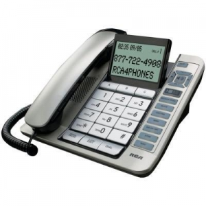 China Electronics RCA 1114-1BSGA Corded Desktop Phone with Caller ID & Digital Answering System (Silver) on sale