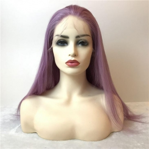 China Wigs Purple Color Human Full Lace Wig on sale